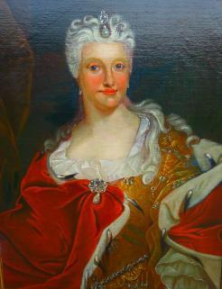 Christiane Eberhardine auf einem Ölgemälde das vor 1697 entstand.